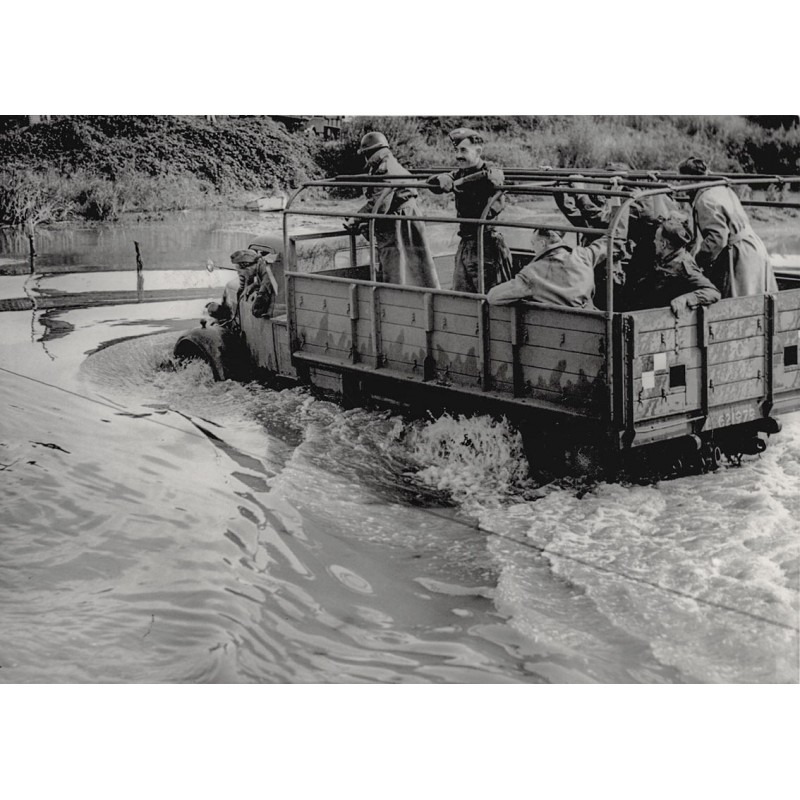 Normandy invasion: Waterproof vehicles built for landing from invasion crafts at sea. Original photography (1943)
