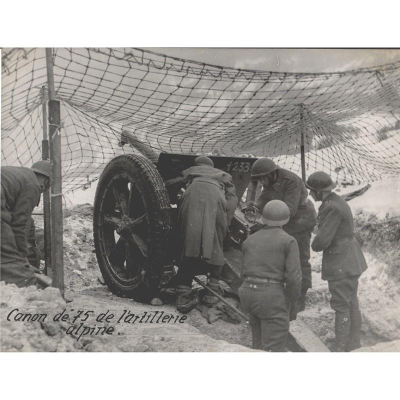 Canon de 75 de l'artillerie alpine. Original Fotografie (1940er Jahre)