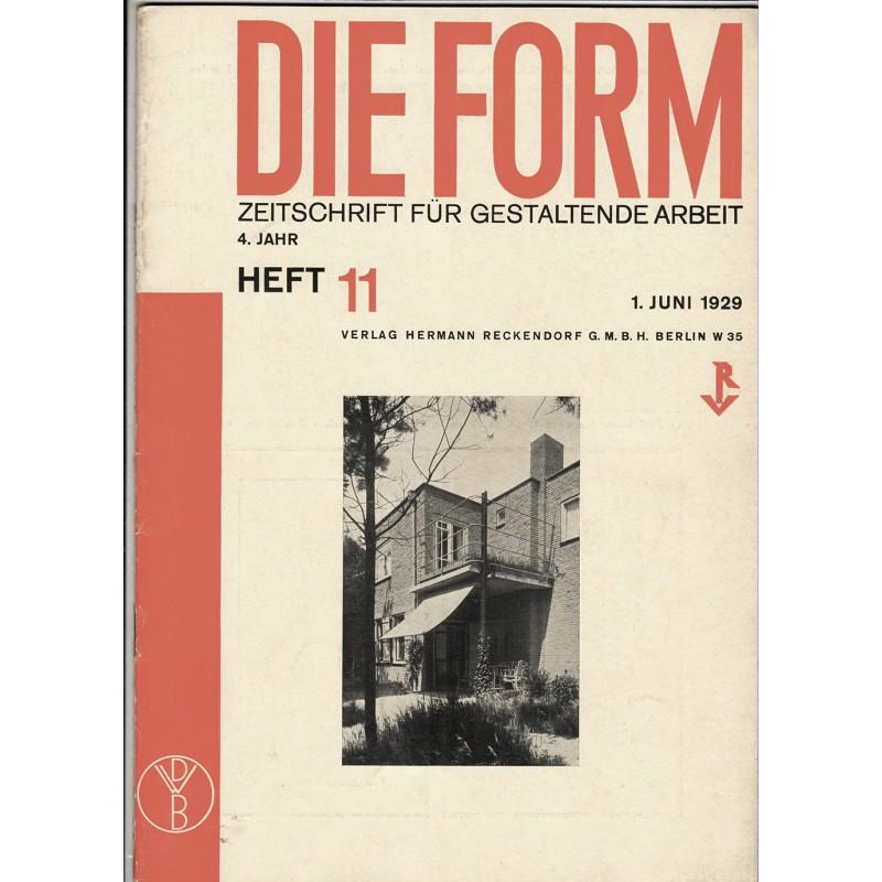 DIE FORM. Zeitschrift für gestaltende Arbeit. Heft 11/1929