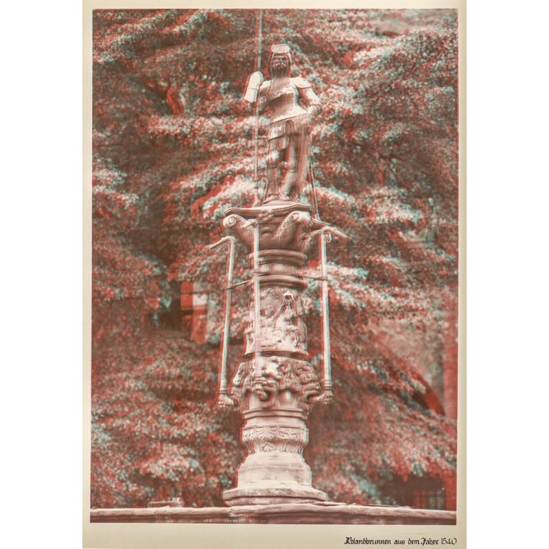 Anaglyphen-Fotografie - Hildesheim: Rolandsbrunnen. Original Fotografie in Anaglyphentechnik (Abzug 1930er Jahre?).