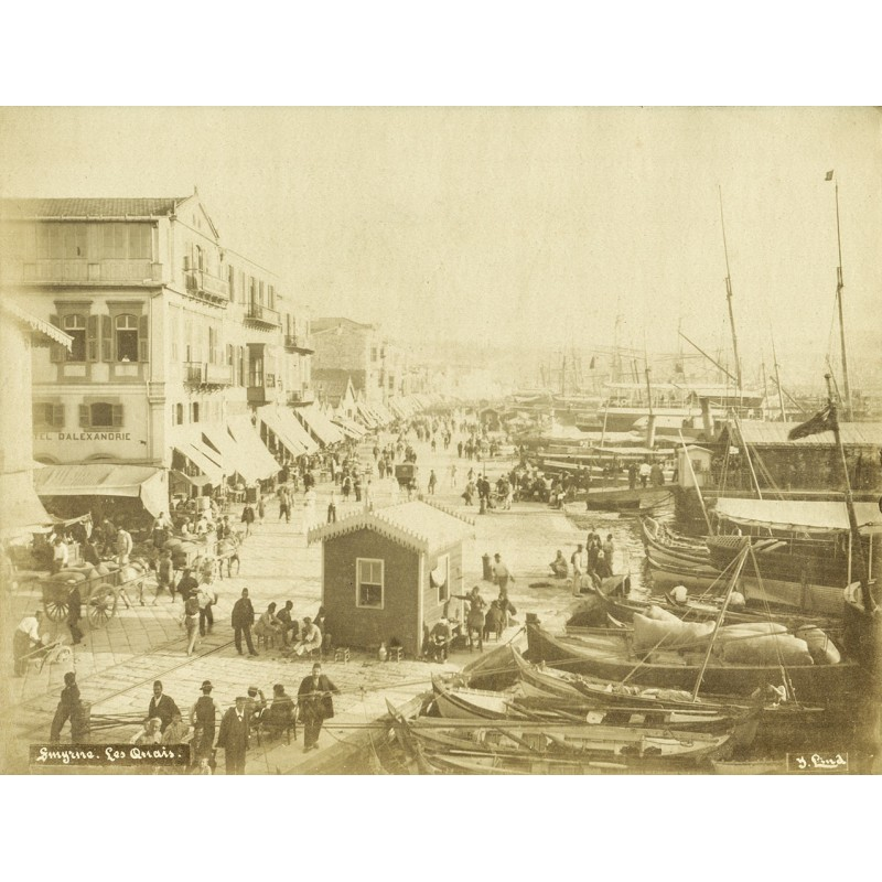 Historic Turkey. Views of  Smyrna (Izmir): Smyrna harbour quai. Original photography (approx. 1898).