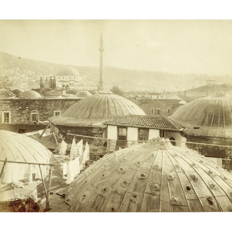 Historische Türkei: Smyrna (Izmir): Smyrna. Blick über die Stadt mit Moscheen. Original Fotografie (ca. 1898).