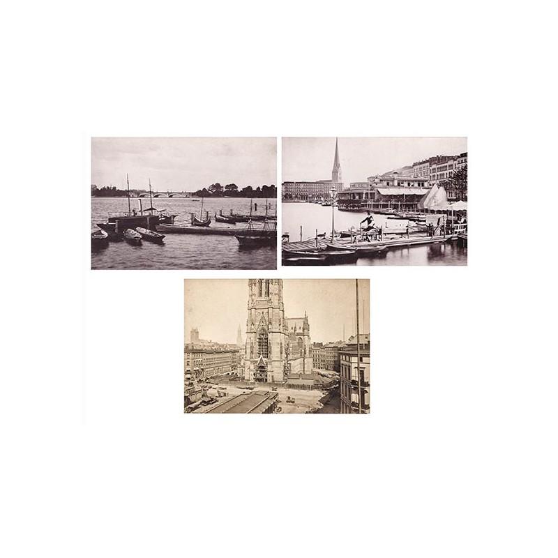 Hamburg in alten Fotografien: Drei Original Fotografien (1877 / 1885)
