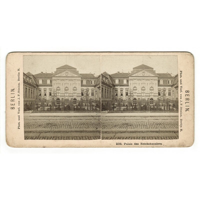 Berlin. Palais des Reichskanzlers. Original Stereo Fotografie (1870er / 1880er Jahre).