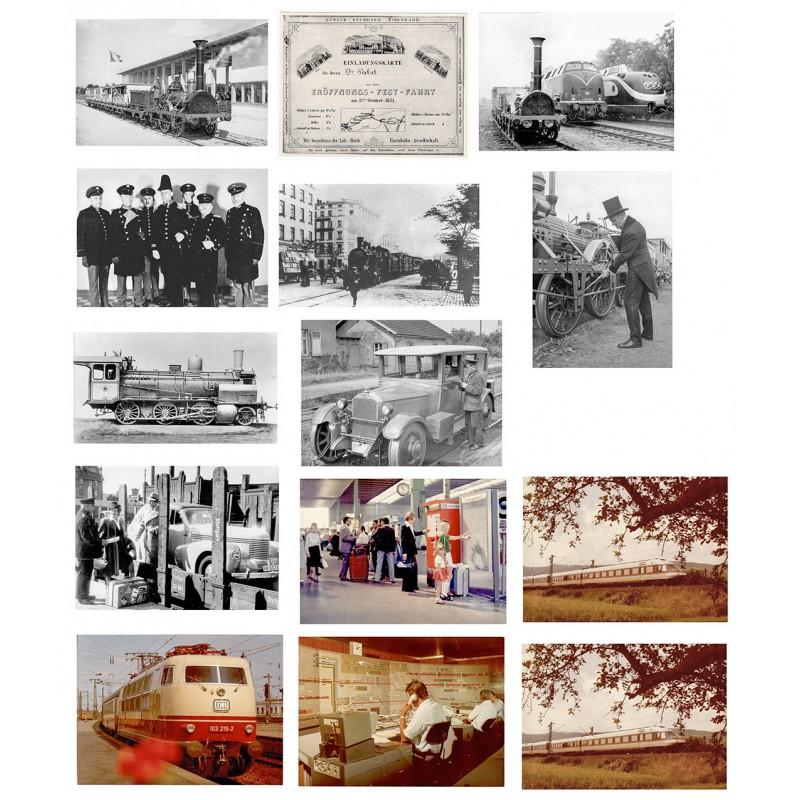 """Deutsche Reichs- und Bundenbahn: Vom """"Adler"""" bis zum """"Intercity"""". 28 Schwarzweiss Fotografien, 20 Farbfotografien."""