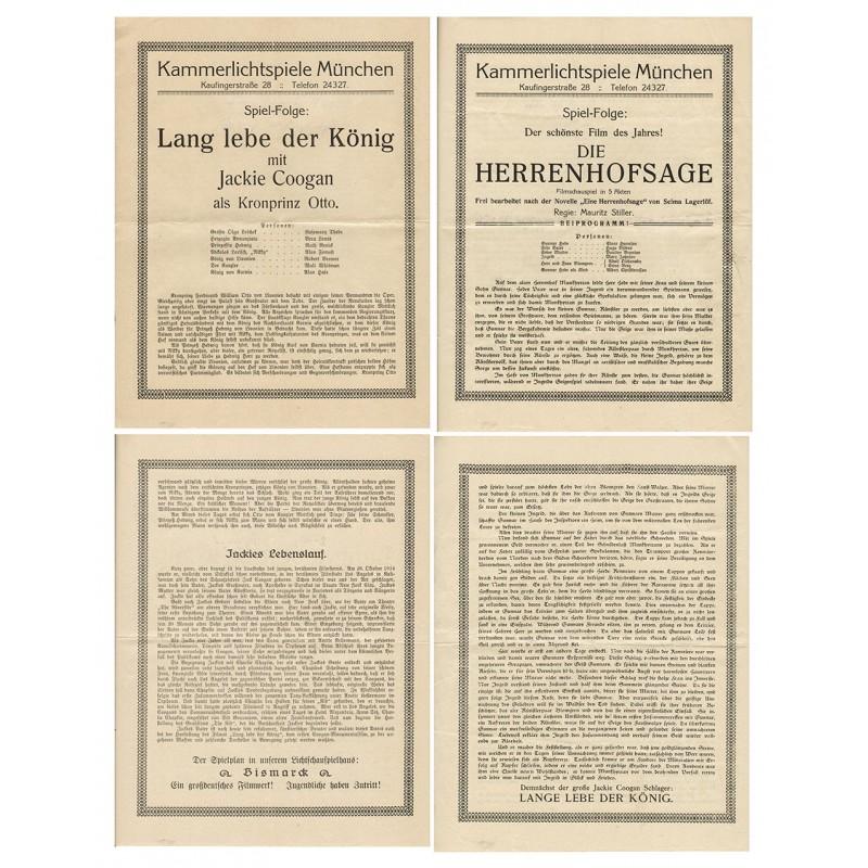 """Aushänge zu Stummfilmen mit Jackie Coogansowie sowie """"Die Herrenhofsage"""" (1924)."""
