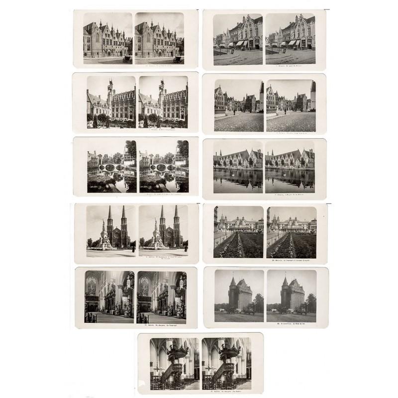 NPG, Berlin: Bruges (Brügge) / Anvers (Antwerpen) / Bruxelles (Brüssel): 11 Stereo-Fotografien (1906).