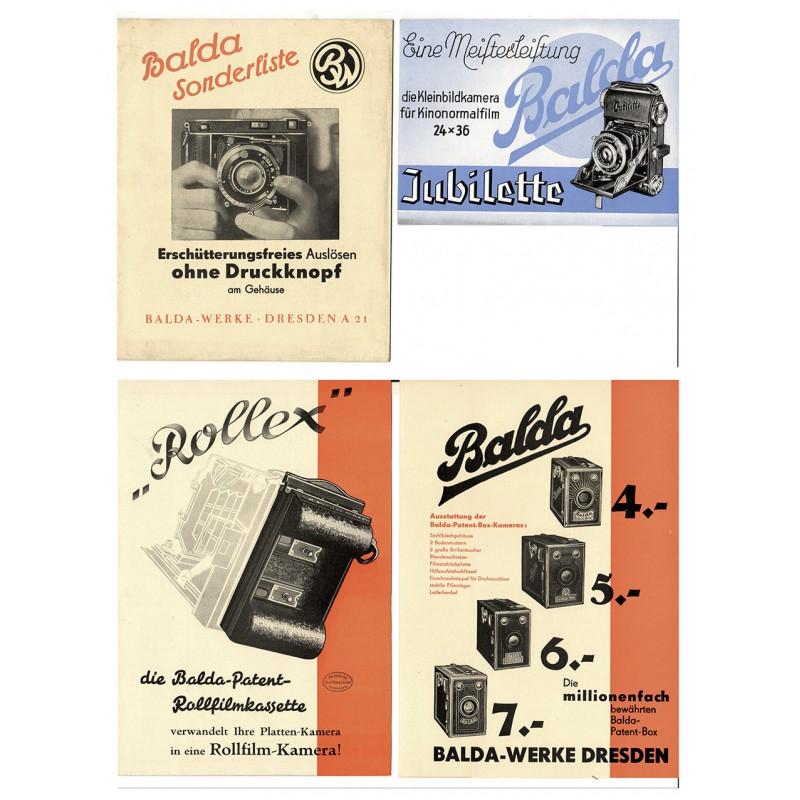 BALDA Kamerawerk, Dresden: Vier Prospekte zur BALDA Kameras (1938 - 1939)