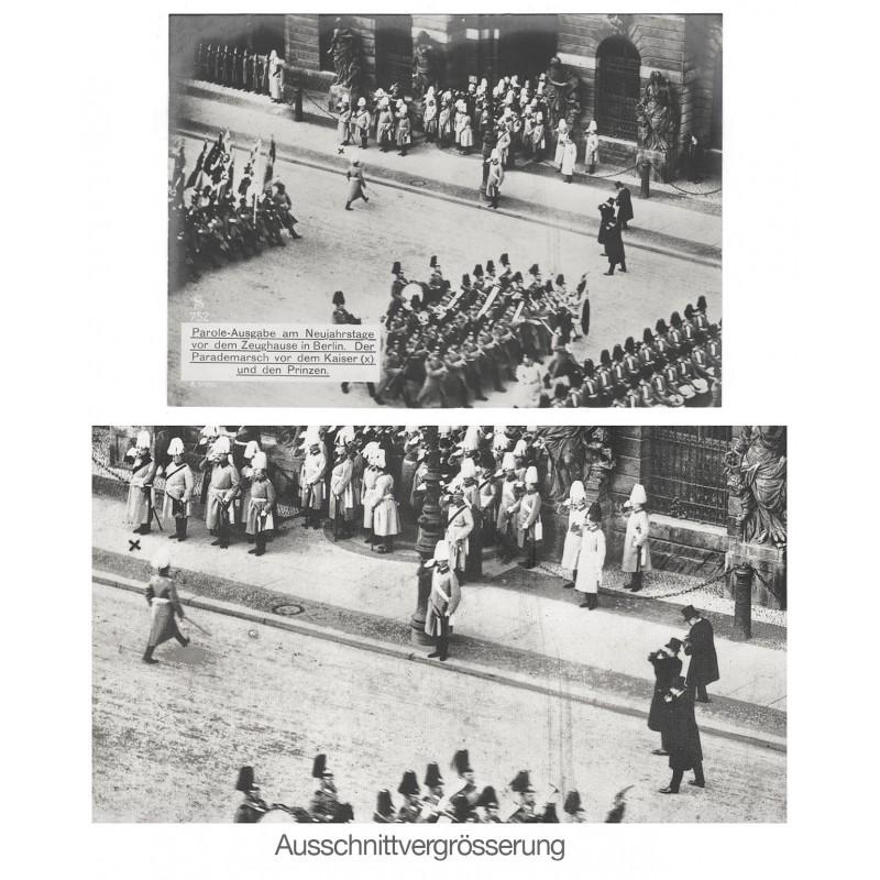 Pressefotografen beim Auftritt von Kaiser Wilhelm II am Neujahrstag vor dem Zeughause in Berlin. Original Fotografie (ca. 1912)