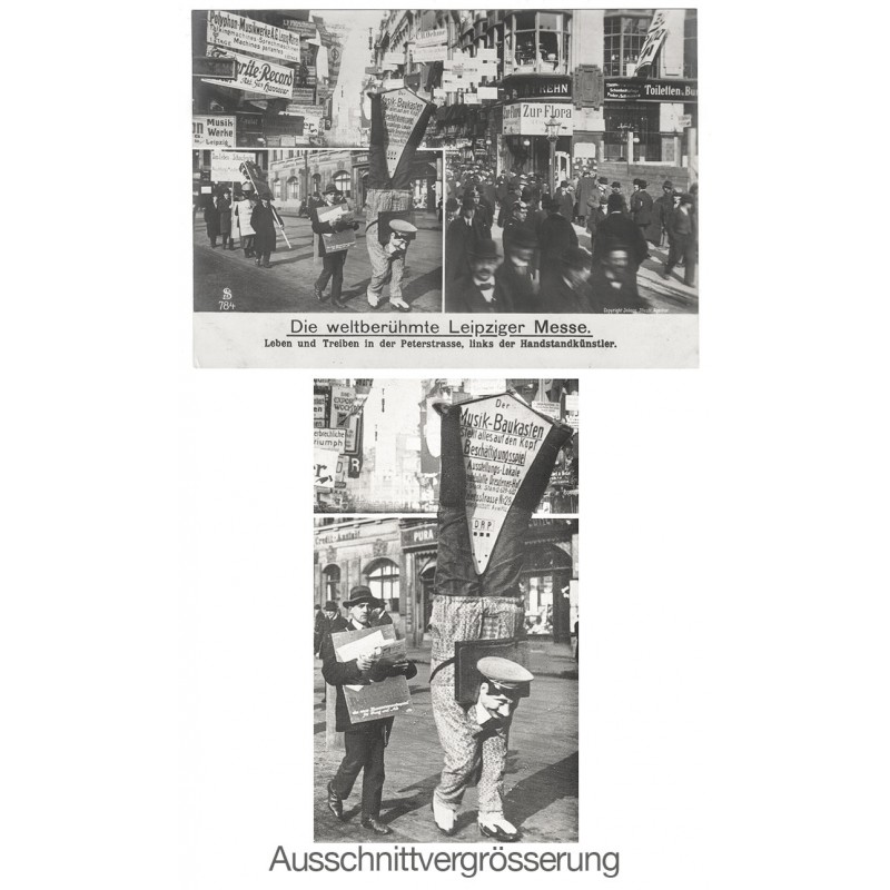 Leipziger Messe mit lebender Reklame: Szene aus der Peterstrasse. Original-Fotografie (ca. 1912).