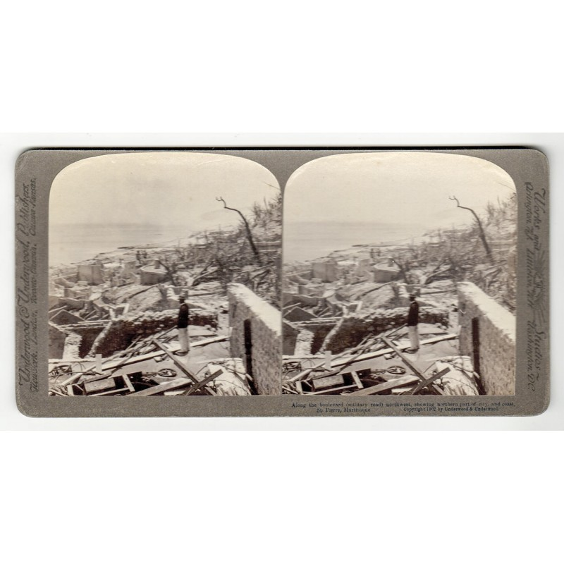 Destroyed from vulcano St. Pelée: The town St. Pierre / Martinique. Stereo photo view (1902).