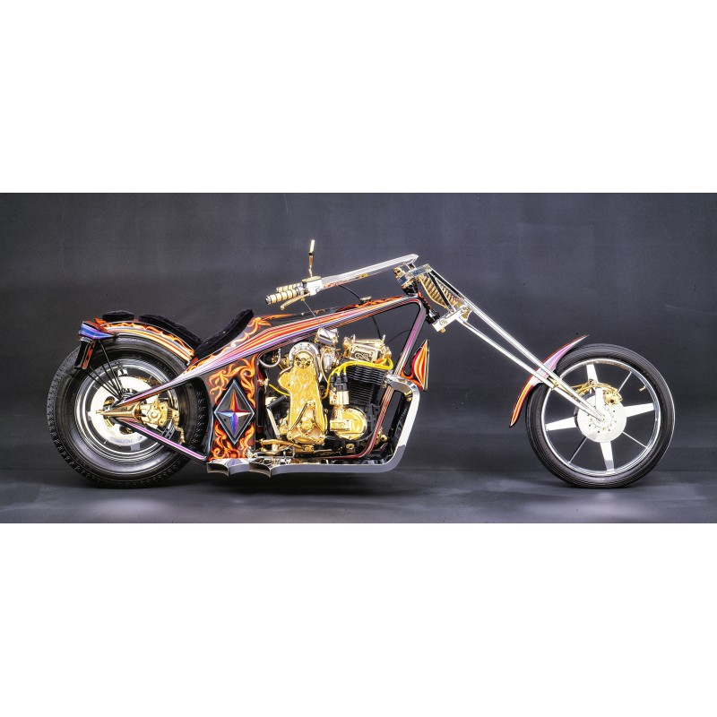 du Bois-Reymond, Prosper: Harley-Davidson Black Gold Bike. Studio colour slide (1970th)