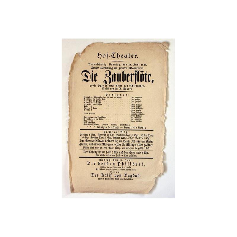 Mozart, Wolfgang Amadeus: Die Zauberflöte. Aushang-Plakat der Aufführung vom 25. Juni 1826