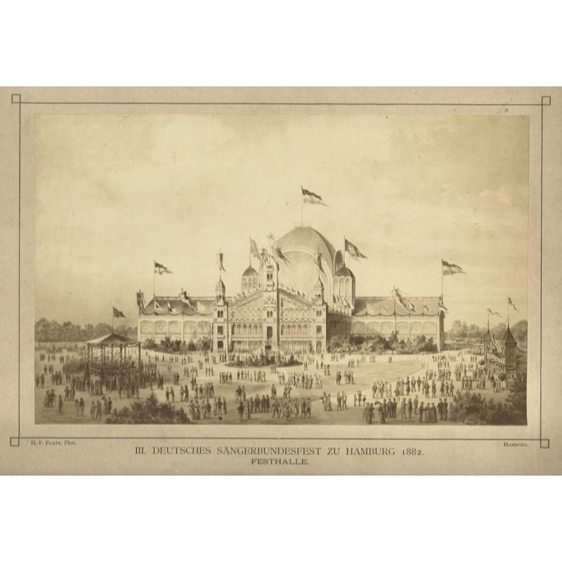 Hamburg: 3. Deutsches Sängerbundfest 1882 zu Hamburg. Original-Fotografie. Albuminabzug (1882)