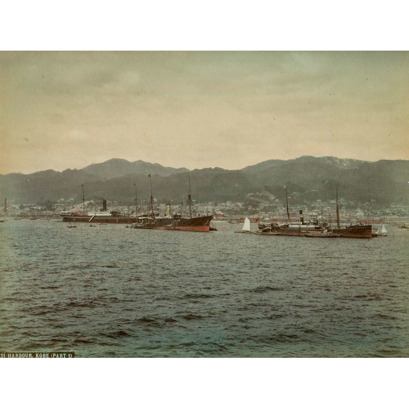 Japan - Anonymous: Harbour (of) Kobe (Part 1). Handcoloured albumen print (approx. 1885).
