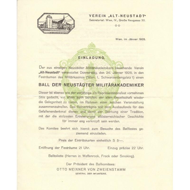 """Einladung zum """"Ball der Neustädter Militärakademiker"""" vom Verein """"Alt Neustadt"""" für den Ball 1928"""