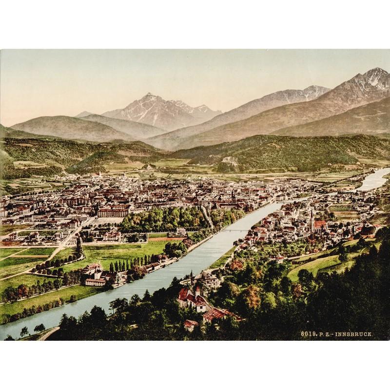 Innsbruck aus der Vogelschau. Photochrom (um 1900)