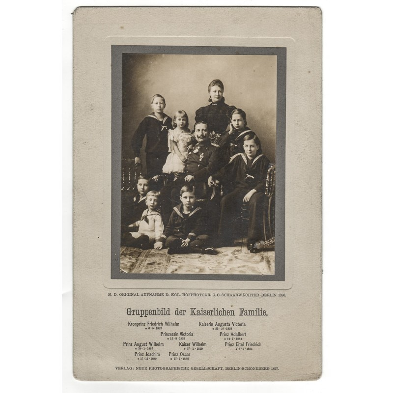 Kaiser Wilhelm II und seine Familie. Original Fotografie (1896)