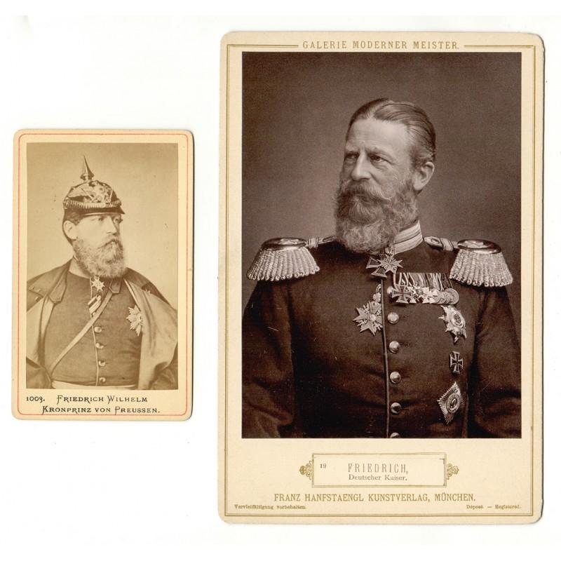 Kaiser Friedrich III. von Preussen. Zwei Aufnahmen (ca. 1875 / 1888)