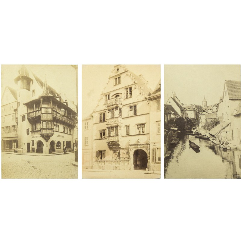 COLMAR / Alsace: Three view of picturesqueoldtown. Original photographs. Albumen prints (approx. 1880)