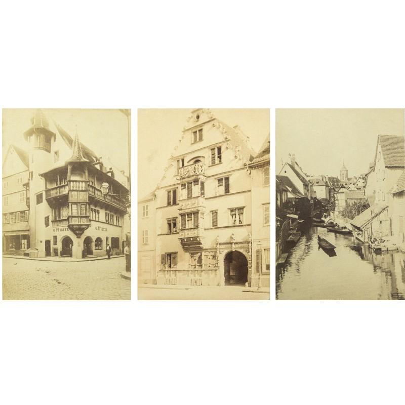 COLMAR im Elsass: Drei Ansichten der Altstadt Original Fotografien. Albumin-Abzüge (ca. 1880)