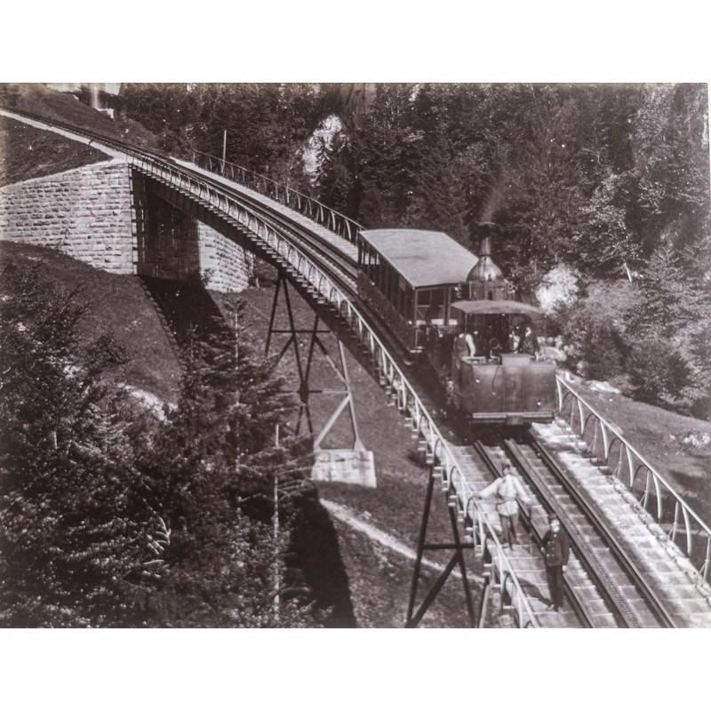 Chemin de fer du Rigi. Original-Fotografie. Albumin-Abzug (ca. 1885).