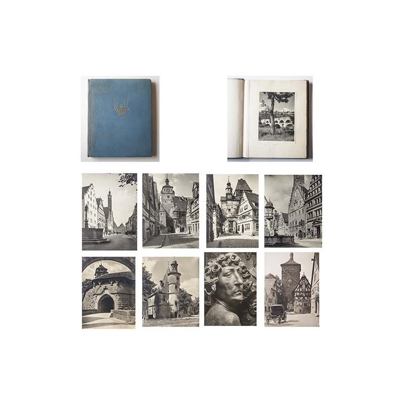 20 Original Fotografien von Rothenburg ob der Tauber im geprägtem Leder-Album (1930er Jahre)