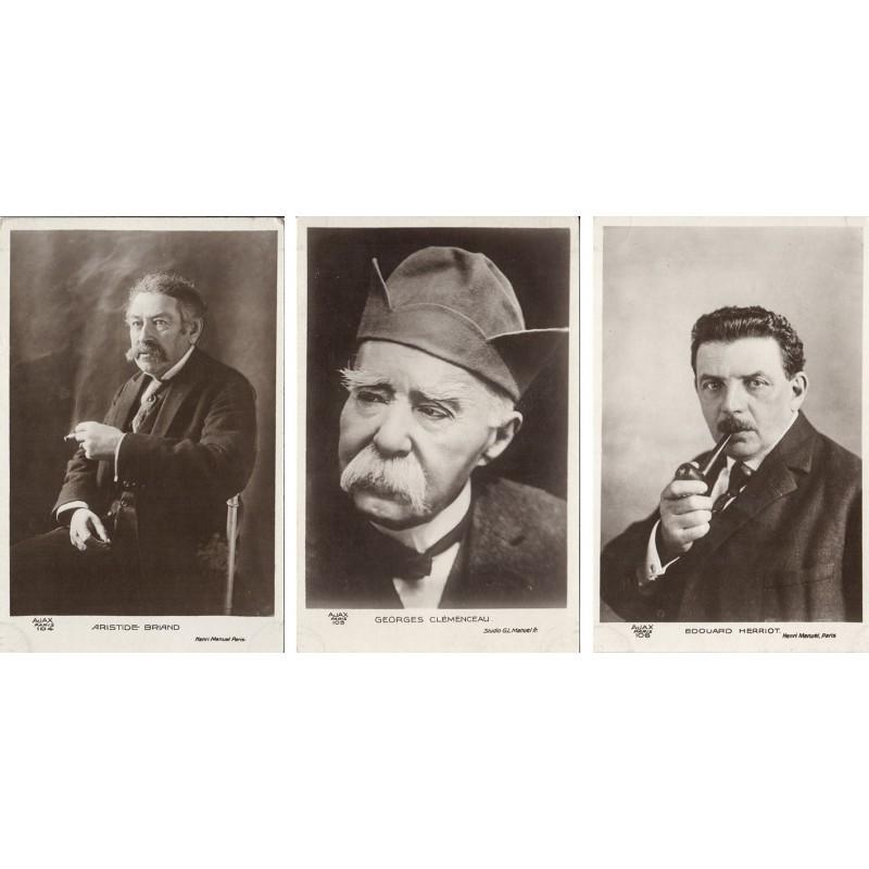 Bildnisse von Aristide Briand / Georges Clemenceau / Edouard Herriot. 3 Original-Fotografien (1920er Jahre).