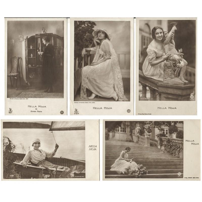 Bildnis der Schauspielerin Hella MOJA. 5 Original-Fotografien. Silbergelatine-Abzüge (1920er Jahre).
