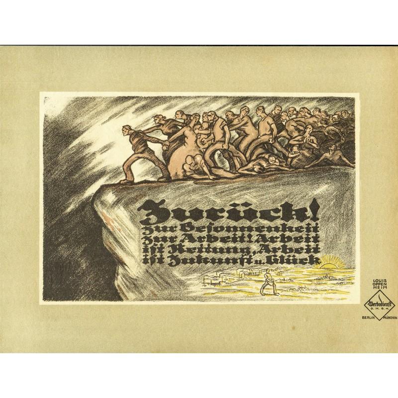 Poltischer Werbe-Plakat-Entwurf - Oppenheim, Louis: ZURÜCK zur BESONNENHEIT! (1919)