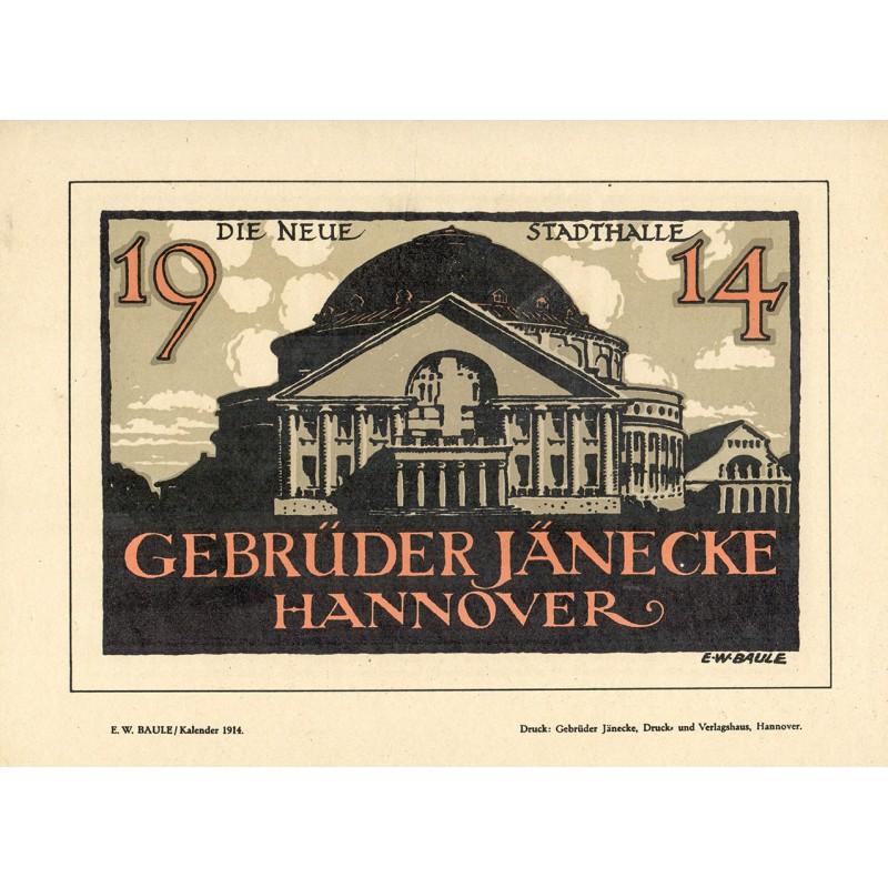Werbe-Plakat-Entwurf - Baule, E.W.: Die neue STADTHALLE HANNOVER (1914)