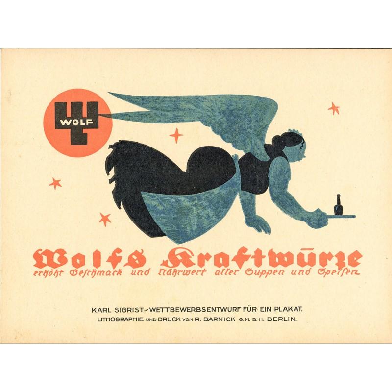 Werbe-Plakat-Entwurf - Sigrist, Karl: Wolfs Kraftwürze (ca. 1914)