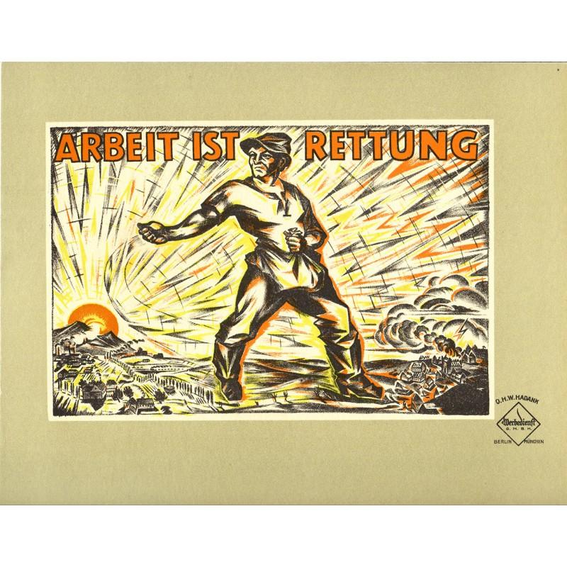 Politischer Werbeplakat-Entwurf - Hadank, O.H.W.: Arbeit ist Rettung (1919)