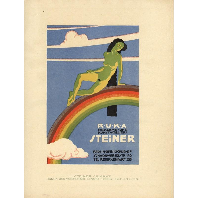 Steiner, Jo: Werbe-Plakat-Entwurf für das Kunstatelier Steiner. R.U.K.A. Reklame- und Kunst-Atelier (1919)