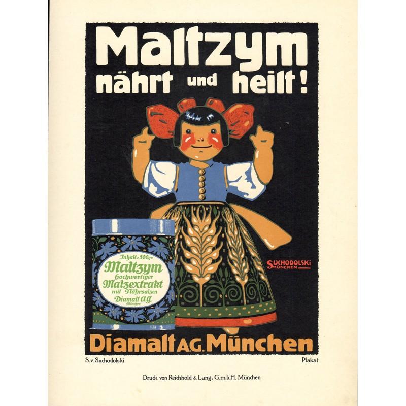 Werbe-Plakat-Entwurf - Suchodolski, Siegmund v.: MALTZYM nährt und heilt ! (1913)