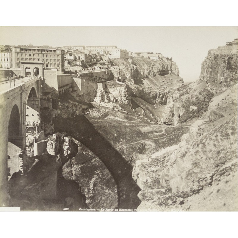 Algerie - Brigde in Constantine, view onto city. Original photography (approx. 1885)