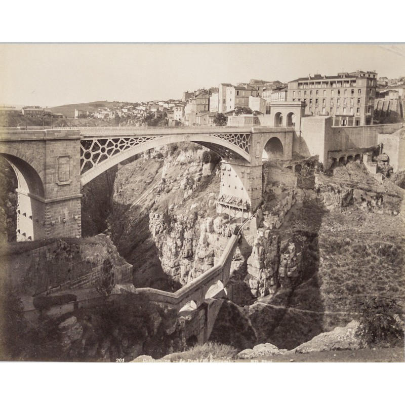 Algerie - Brigde in Constantine. Original photography. Albumen print (approx. 1885)