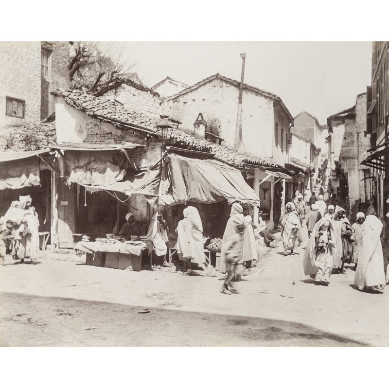 Algerie - Constantine. Arabian Quartier. Original photography. Albumen print (approx. 1885).