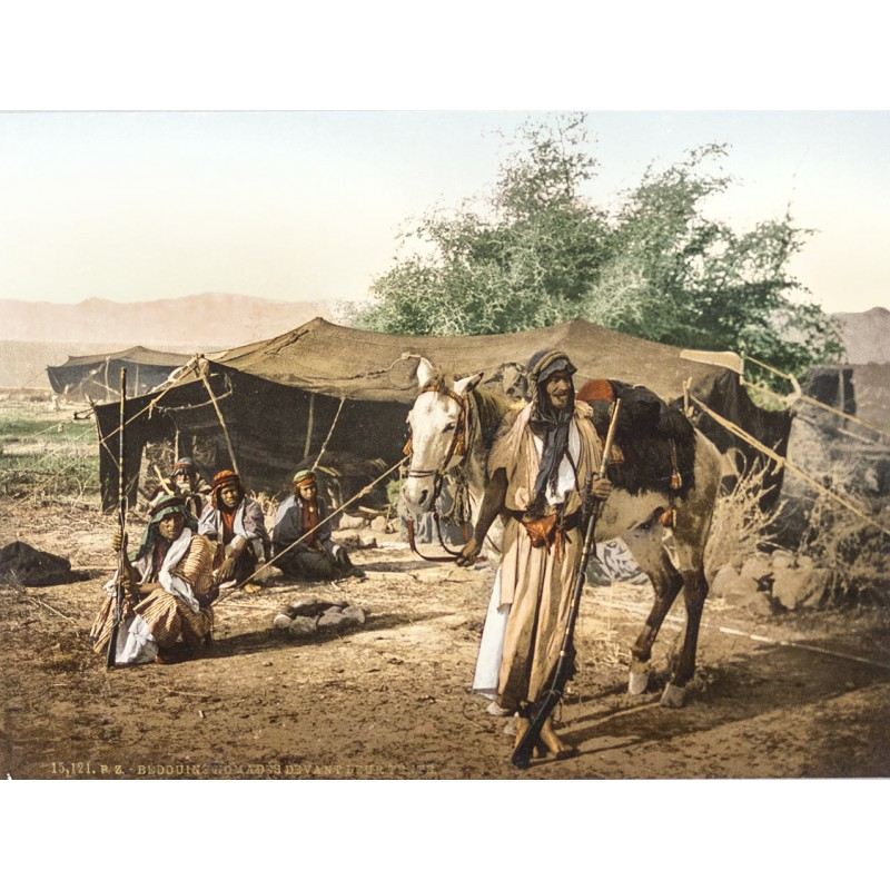 Northern Africa - Photochrom: Bedouins in front of their tent (approx. 1895)