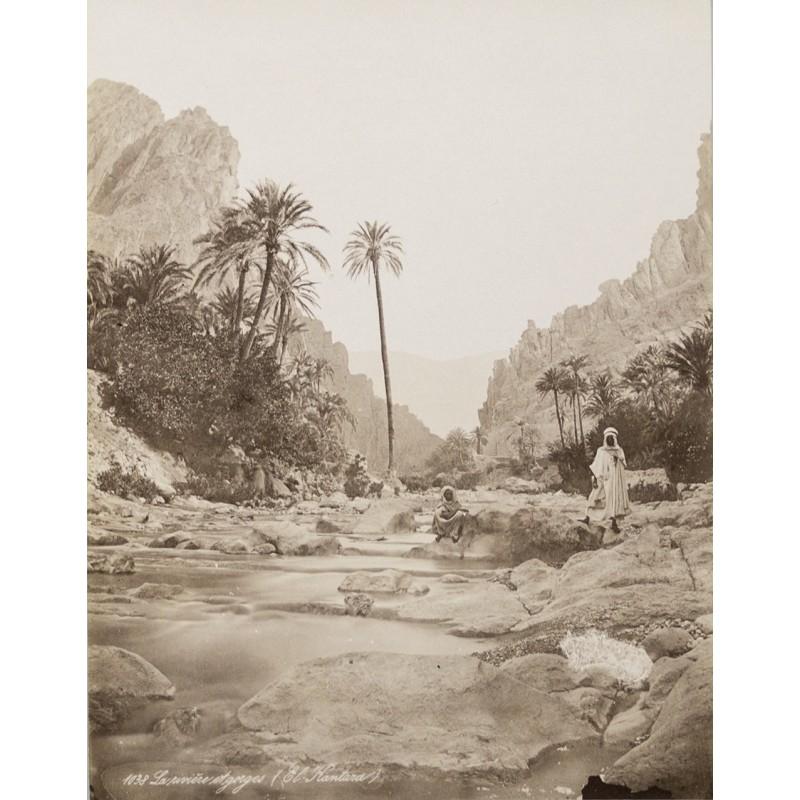 Algerien - Fluss und Schlucht von El Kantara. Original-Fotografie (ca. 1880)