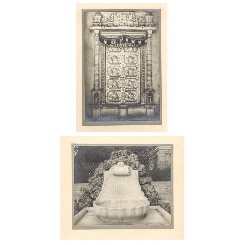 India. Silver Door at Hindu temple / Basin of Carrara marble. 2 Original photographs