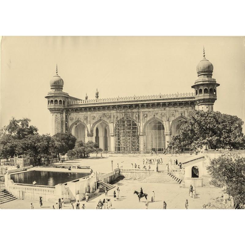 RAJA DEEN DAYA & SONS: Hyderabat. View of a large building. Original photography (approx. 1900)