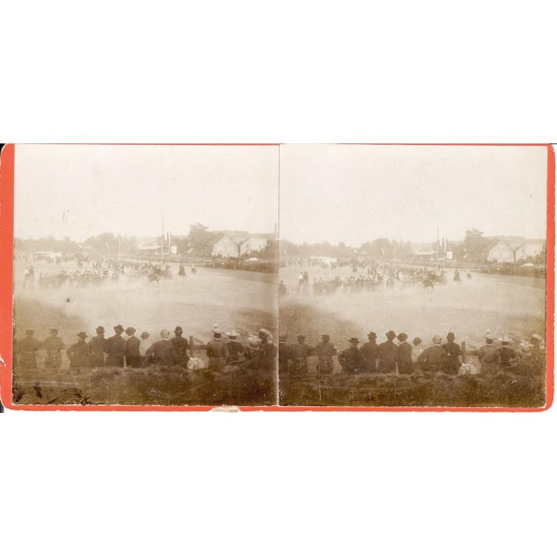 Pferderennen Zweibrücken. Original Stereo Fotografie (um 1910)