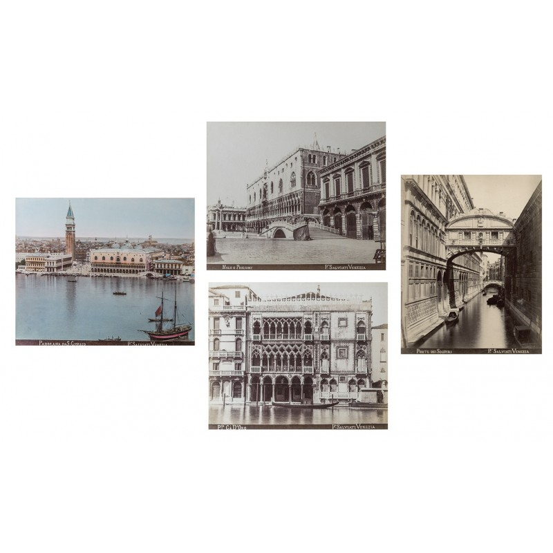 Salviati, P.: Venice. 4 original photographs, one handcoloured. Albumen prints (approx. 1895).