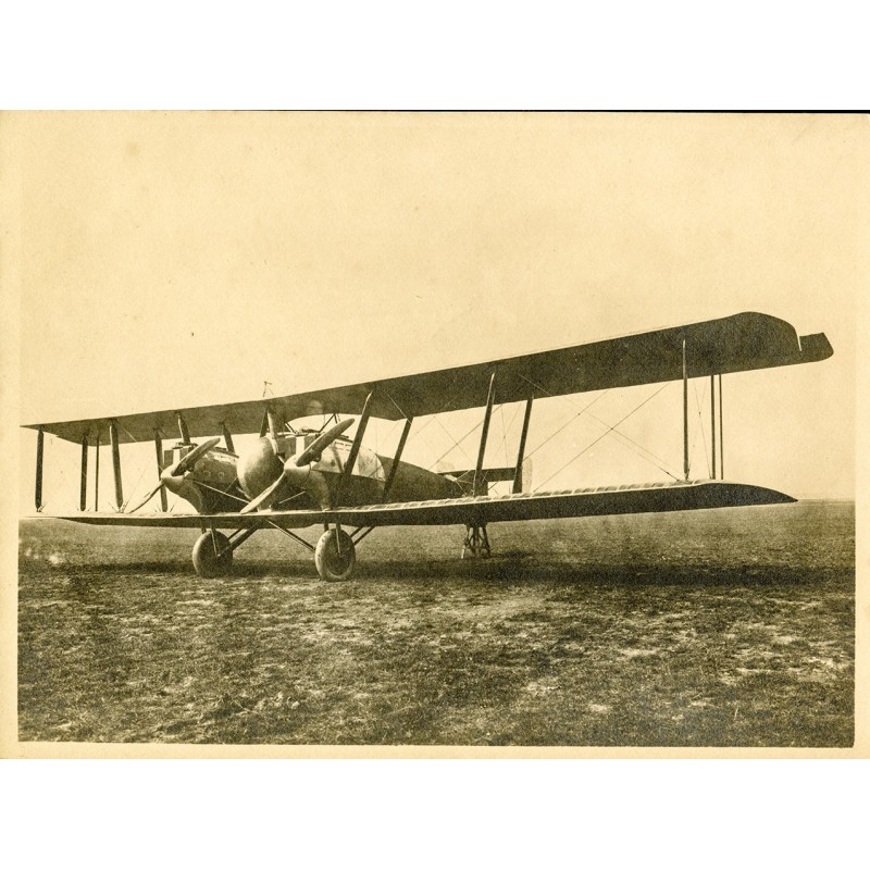 Twin-engine biplane. Original photography - brown tinted silver gelatine print (1920th)