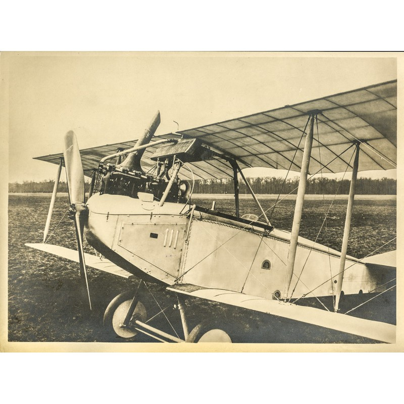 """Doppeldecker mit """"Reschke""""-Propeller. Original-Fotografie - Silbergelatine-Abzug, braun getont (ca. 1920)"""