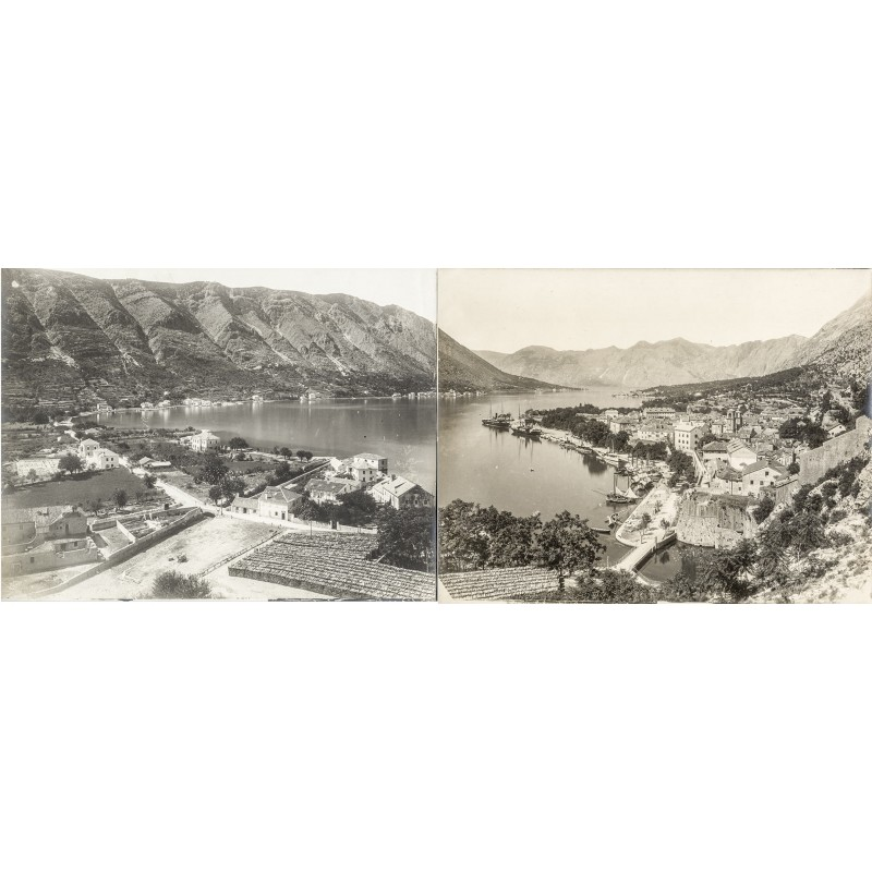 Laforest, Franz: Kotor (Cattaro) Bay. Panorama photography in two parts (appox. 1905).