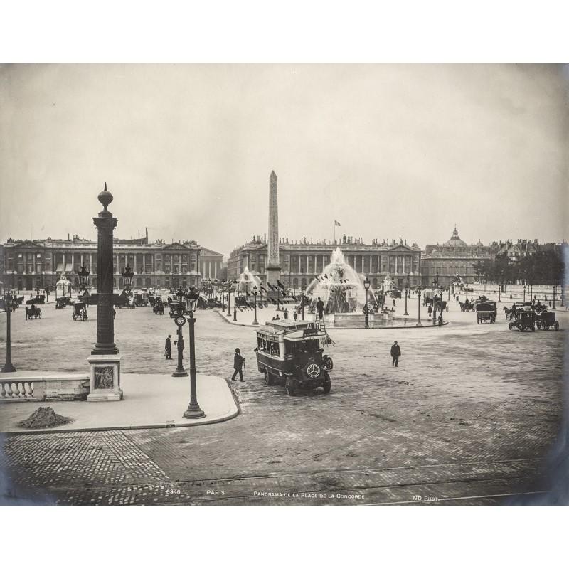 N. D. phot.: PARIS, Place de la Concorde with Mercedes Bus. Original-Fotografie (approx. 1905)