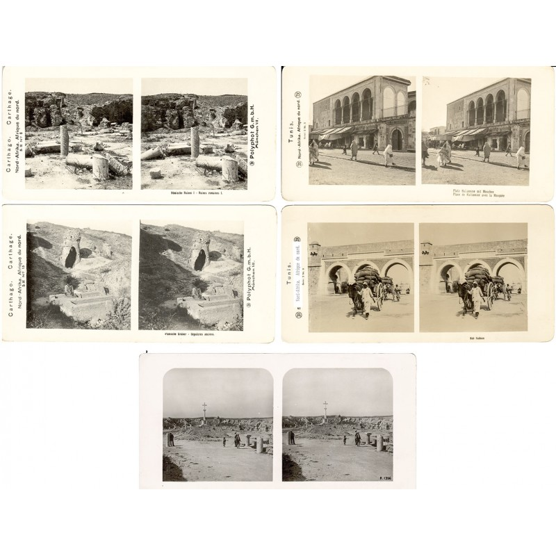 North Africa - Tunisia: Tunis and Cartago. 5 original stereo phtographs (approx. 1905