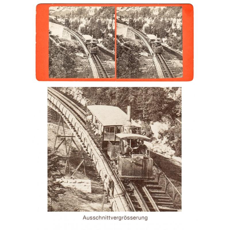 Die Vitznau Rigi Zahnrad Bahn. Original Stereo-Fotografie (1870er Jahre)